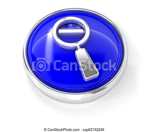 Magnifying glass icon on glossy blue round button - csp63742249