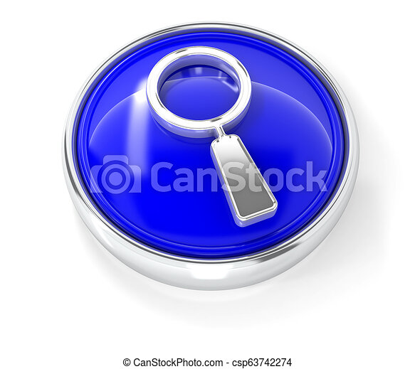 Magnifying glass icon on glossy blue round button - csp63742274