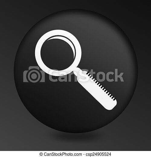 Magnifying Glass Icon on Round Black Button - csp24905524