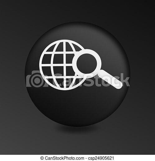 Magnifying Glass Icon on Round Black Button - csp24905621