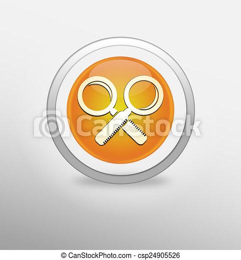 Magnifying Glass Icon on round orange button. - csp24905526