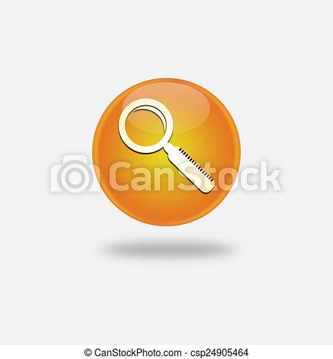 Magnifying Glass Icon on round orange button. - csp24905464