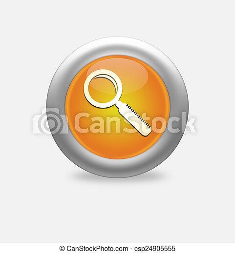 Magnifying Glass Icon on round orange button. - csp24905555