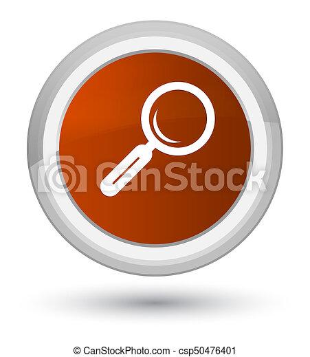Magnifying glass icon prime brown round button - csp50476401