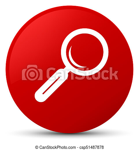 Magnifying glass icon red round button - csp51487878