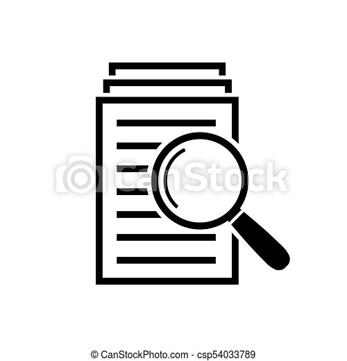 magnifying glass icon search documents sign serch vector rh canstockphoto com document clip art free pile de documents clipart