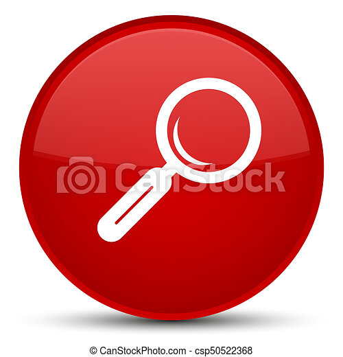 Magnifying glass icon special red round button - csp50522368