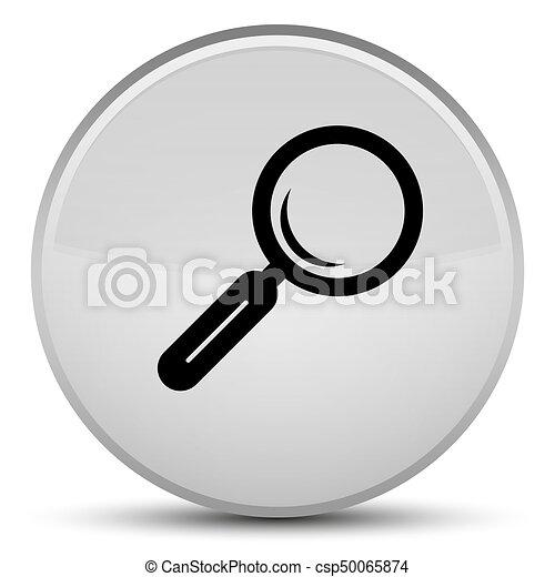 Magnifying glass icon special white round button - csp50065874