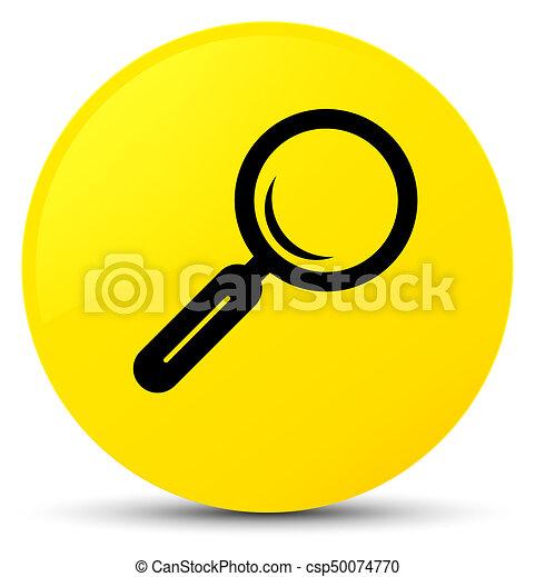 Magnifying glass icon yellow round button - csp50074770