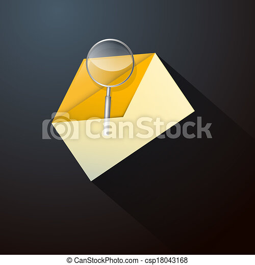 Magnifying Glass in Yellow Envelope Icon - csp18043168