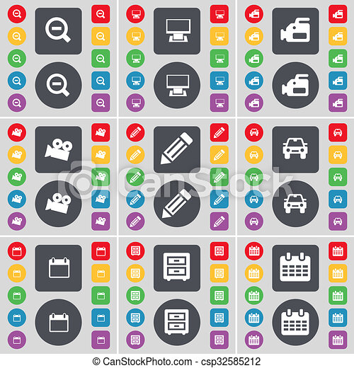 Magnifying glass, Monitor, Film camera, Pencil, Car, Calendar, Bed-table icon symbol. A large set of flat, colored buttons for your design. - csp32585212
