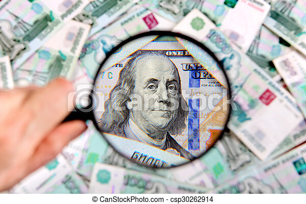 Magnifying Glass on the Money - csp30262914