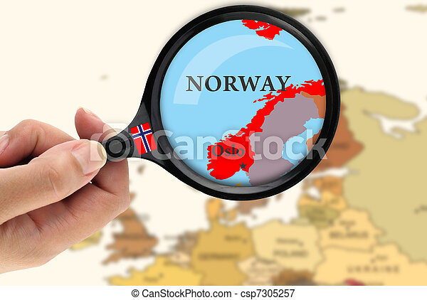 Magnifying glass over a map of Norway - csp7305257