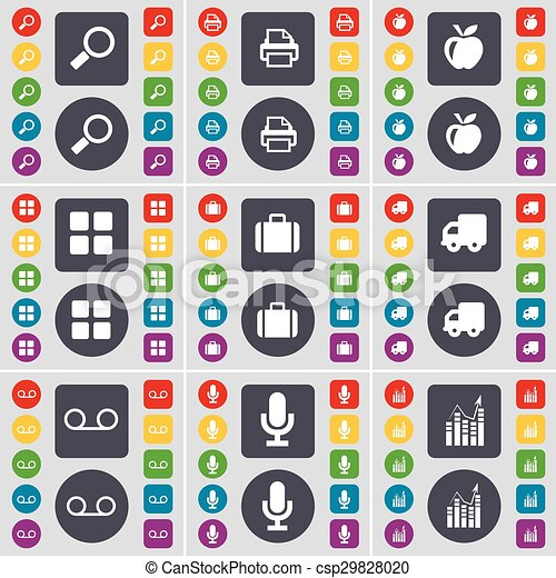 Magnifying glass, Printer, Apps, Apps, Suitcase, Truck, Cassette, Microphone, Graph icon symbol. A large set of flat, colored buttons for your design. Vector - csp29828020