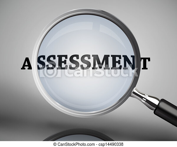 Magnifying glass showing assessment - csp14490338