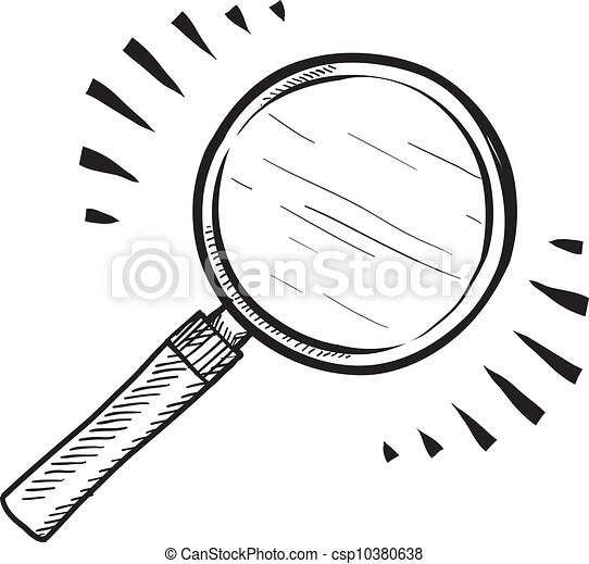 Magnifying glass sketch - csp10380638