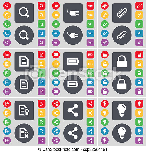 Magnifying glass, Socket, Clip, Text file, Battery, Lock, File, icon symbol. A large set of flat, colored buttons for your design. - csp32584491