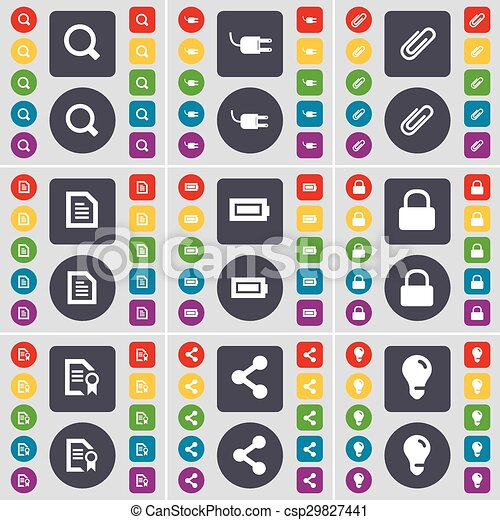 Magnifying glass, Socket, Clip, Text file, Battery, Lock, File, icon symbol. A large set of flat, colored buttons for your design. Vector - csp29827441