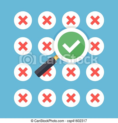 Magnifying glass with tick checkmark icon and lot of red crosses icons   Creative flat design vector illustration