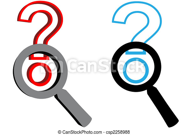 Magnifying Glasses search for answer to question mark - csp2258988
