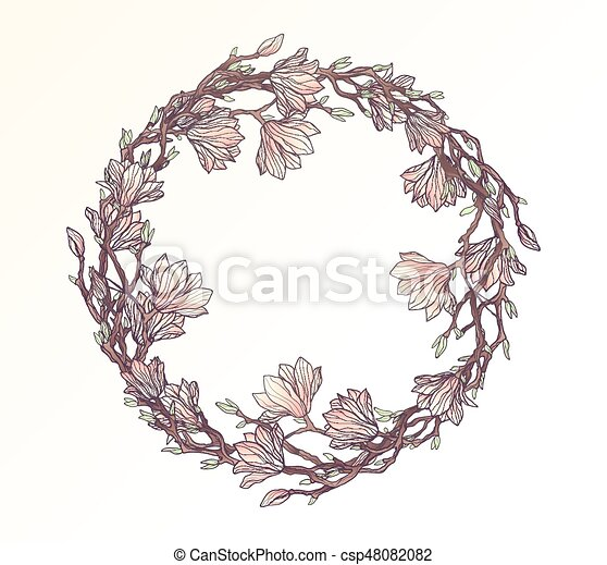 magnolia floral circle frame template csp48082082