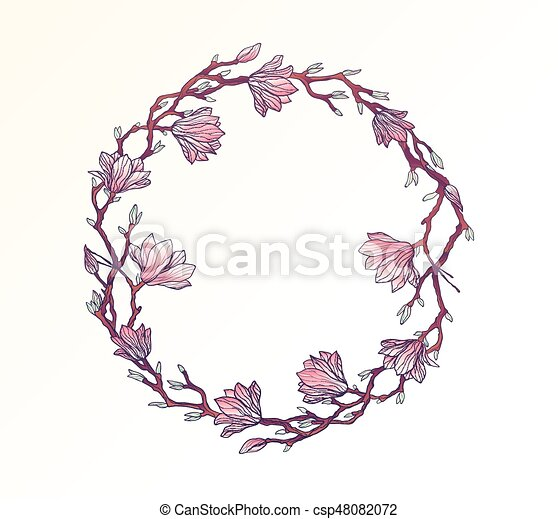Magnolia floral circle frame template magnolia floral circle frame template csp48082072 maxwellsz
