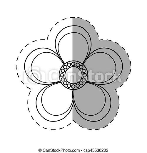 magnolia flower decoration cut line - csp45538202