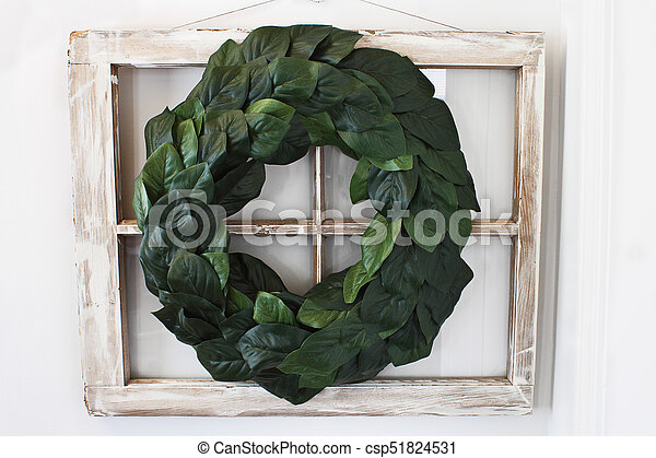Magnolia Leaf Wreath Over Old Window Csp With
