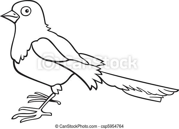 Magpie for coloring book - csp5954764