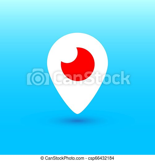 Mahachkala, Russia - October 2, 2016. Periscope app for video chat logo vector illustration on blue background - csp66432184