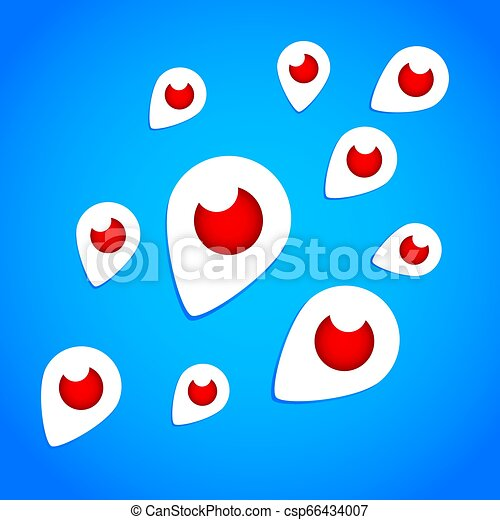 Mahachkala, Russia - October 2, 2016. Periscope app for video chat flying logo vector illustration on blue background - csp66434007