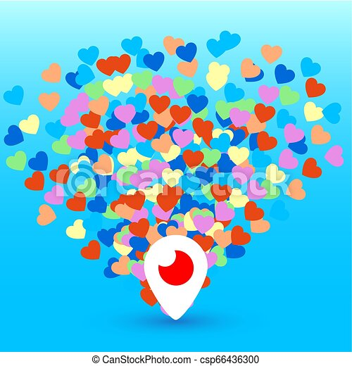 Mahachkala, Russia - October 2, 2016. Periscope app for video chat logo with hearts vector illustration on blue background - csp66436300