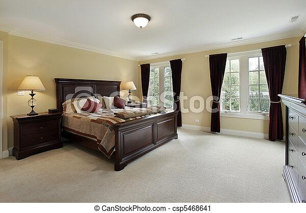 mahagóni, hálószoba, fiatalúr, berendezés - csp5468641