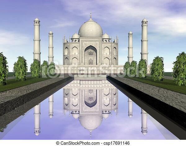 Taj mausoleo, agra, India, 3D - csp17691146