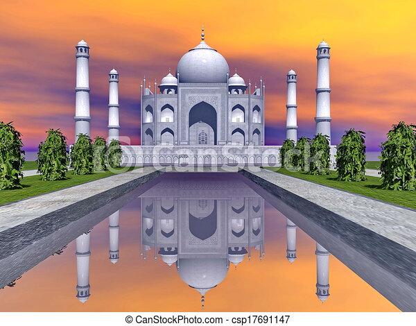 Taj mausoleo, agra, India, 3D - csp17691147