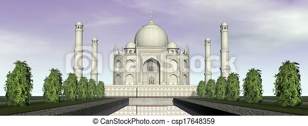 Taj mausoleo, agra, India, 3D - csp17648359