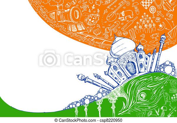 Taj mahal en tricolor - csp8220950