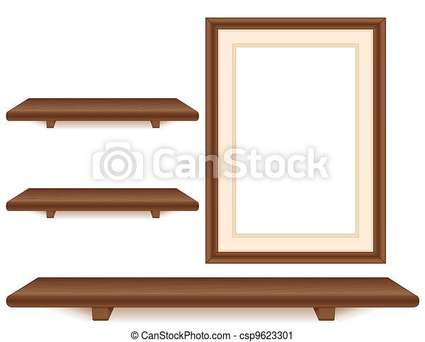 Mahogany shelves, picture frame. Wall group, three mahogany wood ...