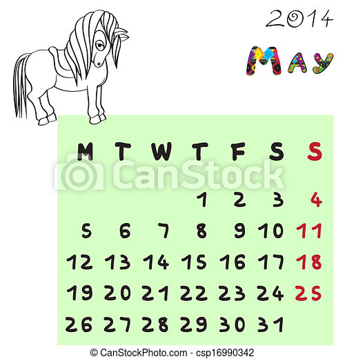 mai, 2014, cheval, calendrier - csp16990342