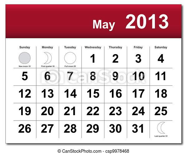 mai, calendrier, 2013 - csp9978468