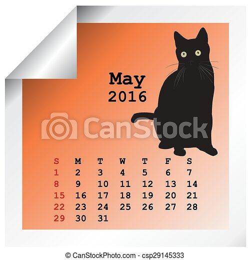 mai, calendrier, 2016 - csp29145333