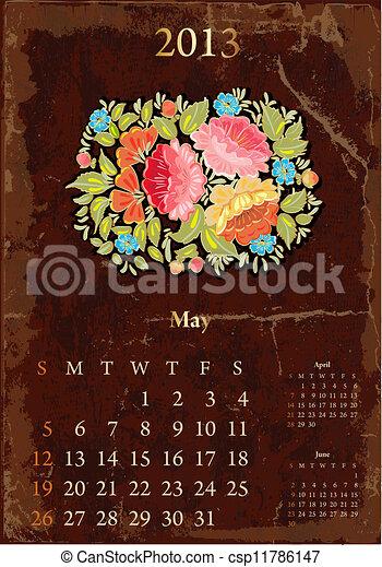mai, vendange, calendrier, retro, 2013 - csp11786147