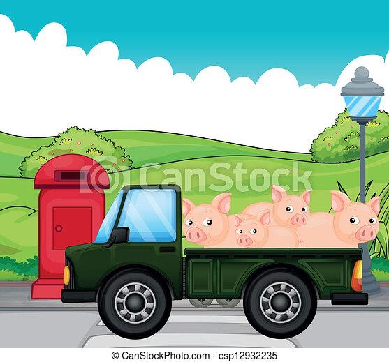 maiali, verde indietro, veicolo - csp12932235
