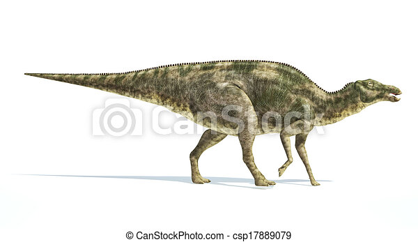 Maiasaura dinosaur, photorealistic representation. Side view. - csp17889079