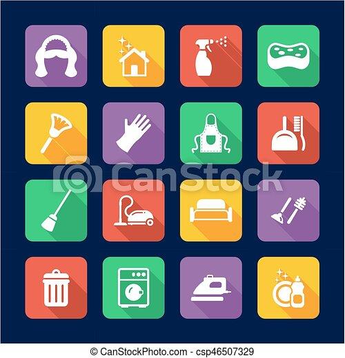 Maid Icons Flat Design - csp46507329
