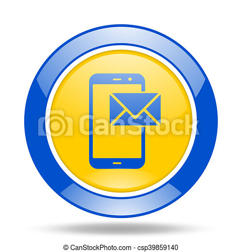 mail blue and yellow web glossy round icon - csp39859140