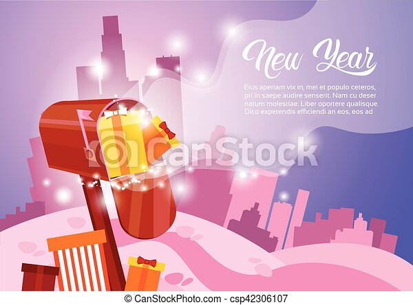 Mail box with present happy new year merry christmas greeting card mail box with present happy new year merry christmas greeting card banner csp42306107 m4hsunfo