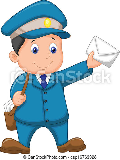 vector illustration of mail carrier cartoon with bag and vector rh canstockphoto com letter carrier clipart mail carrier clipart free