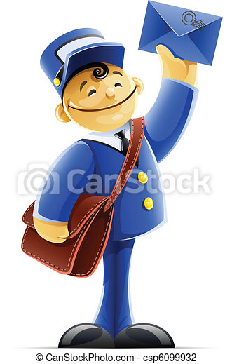 mail carrier with bag and letter - csp6099932