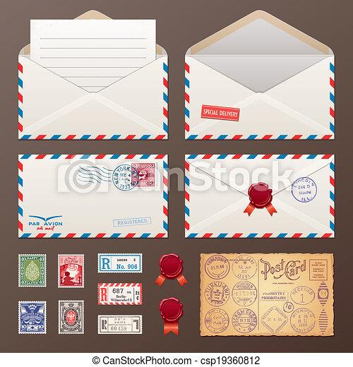 Mail Envelope, Stamps, Postcard